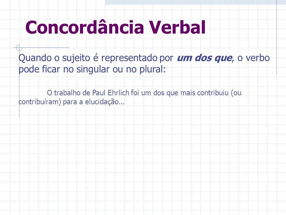 Concordância Verbal Quando o sujeito é representado por um dos que, o verbo pode ficar no singular ou no plural: