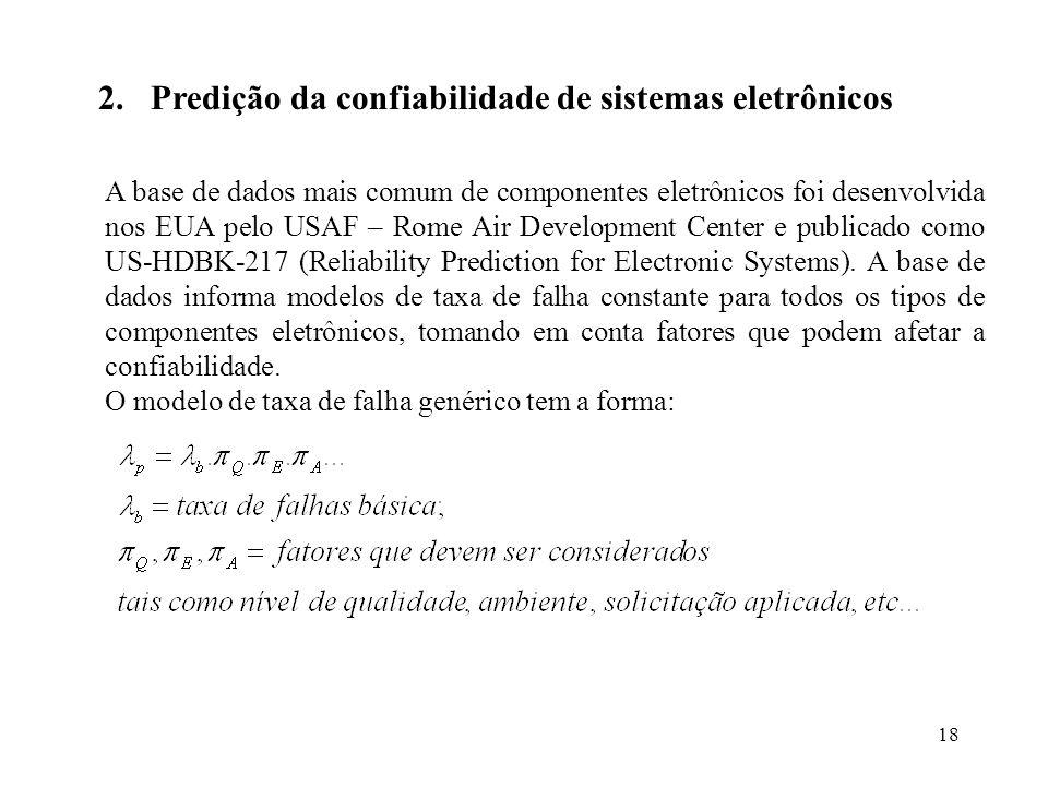 Predição da confiabilidade de sistemas eletrônicos