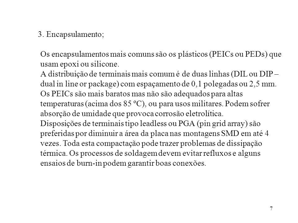3. Encapsulamento; Os encapsulamentos mais comuns são os plásticos (PEICs ou PEDs) que usam epoxi ou silicone.