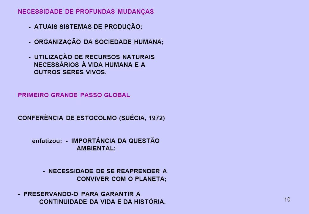 NECESSIDADE DE PROFUNDAS MUDANÇAS