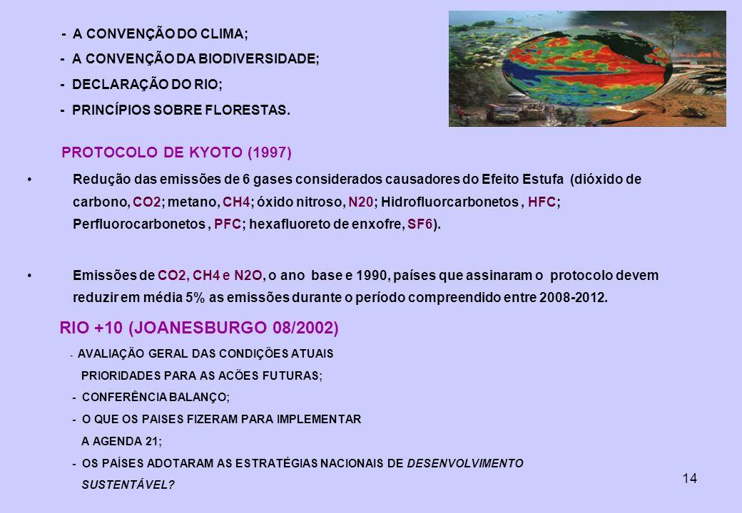 - A CONVENÇÃO DA BIODIVERSIDADE; - DECLARAÇÃO DO RIO;