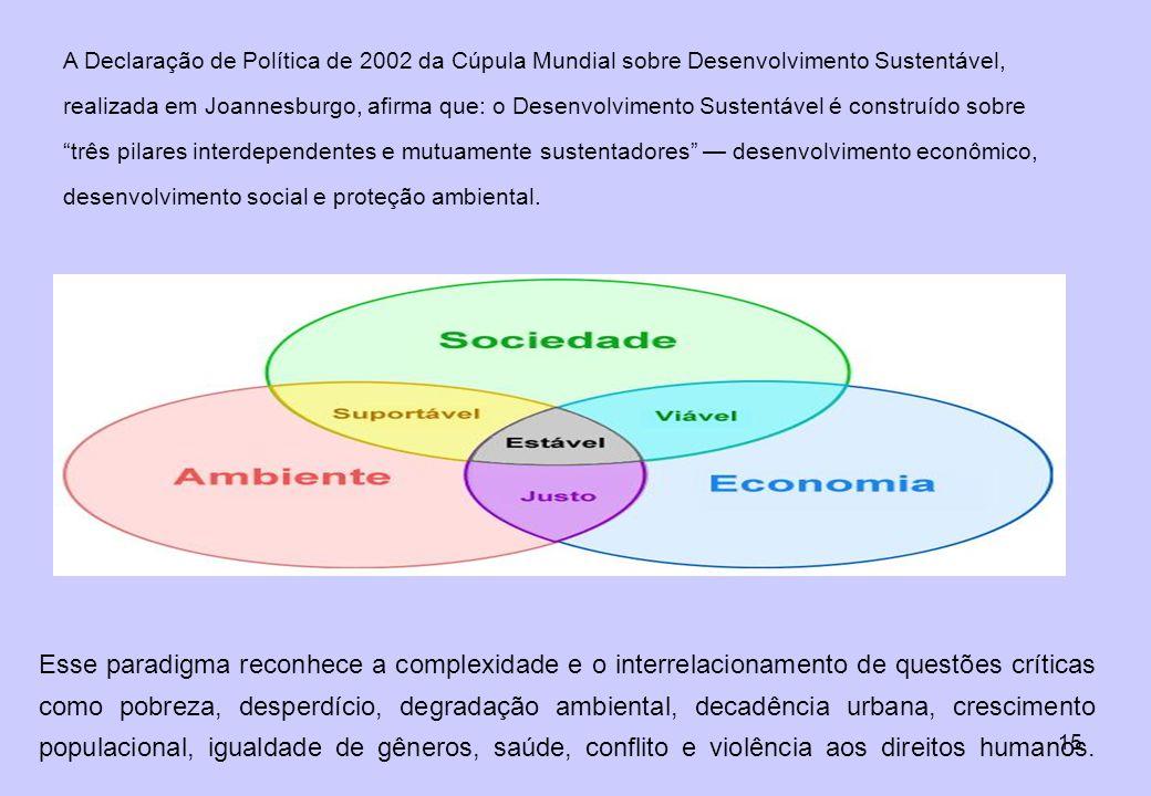 A Declaração de Política de 2002 da Cúpula Mundial sobre Desenvolvimento Sustentável, realizada em Joannesburgo, afirma que: o Desenvolvimento Sustentável é construído sobre três pilares interdependentes e mutuamente sustentadores — desenvolvimento econômico, desenvolvimento social e proteção ambiental.