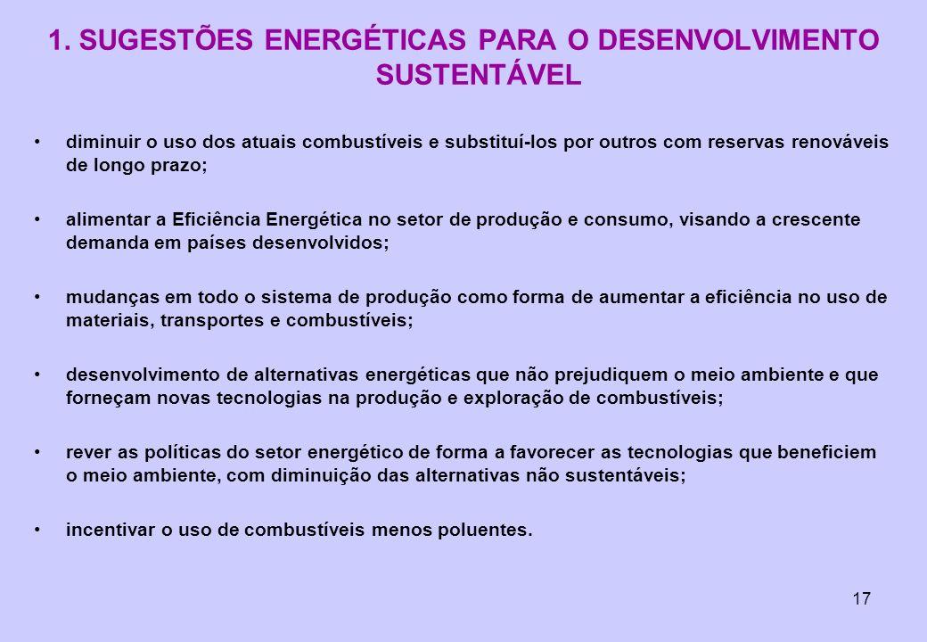 1. SUGESTÕES ENERGÉTICAS PARA O DESENVOLVIMENTO SUSTENTÁVEL