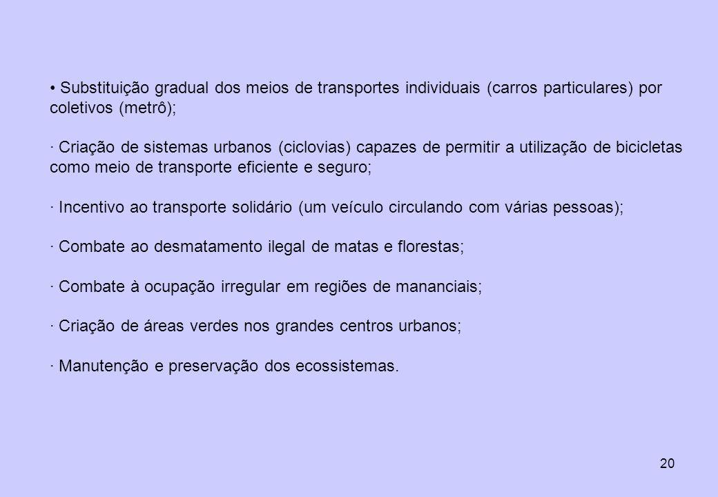 Substituição gradual dos meios de transportes individuais (carros particulares) por coletivos (metrô);