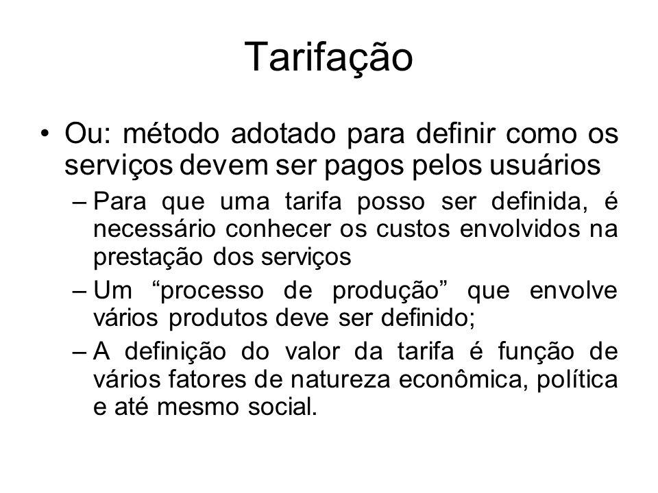 Tarifação Ou: método adotado para definir como os serviços devem ser pagos pelos usuários.