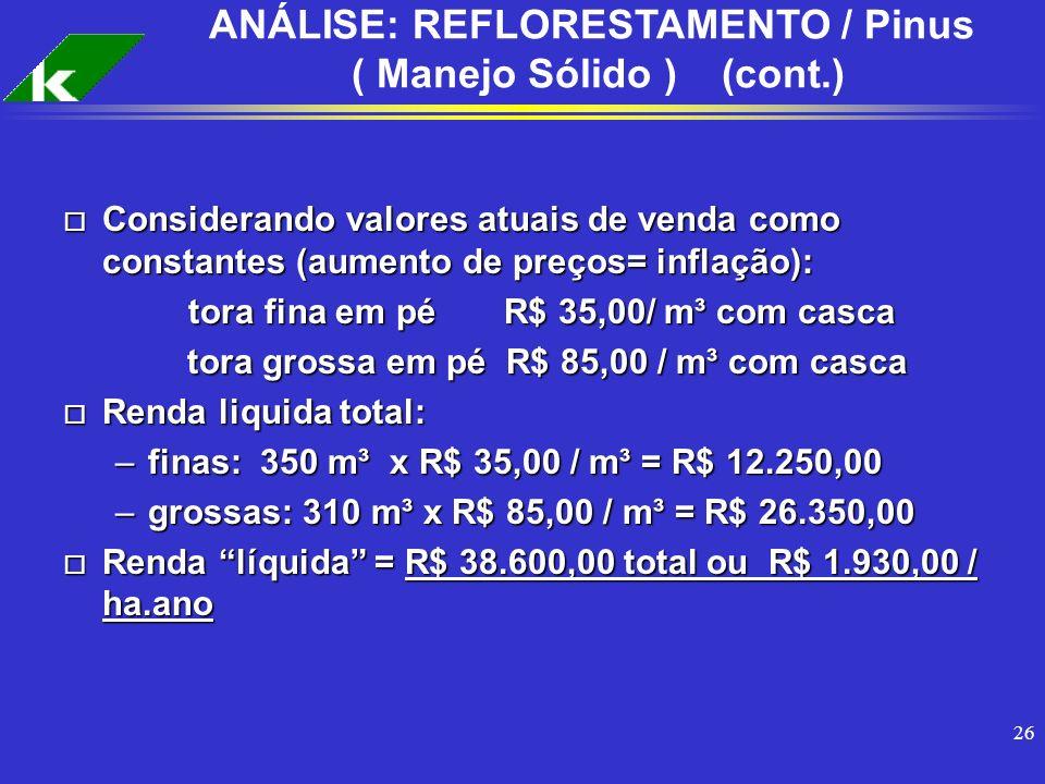 ANÁLISE: REFLORESTAMENTO / Pinus ( Manejo Sólido ) (cont.)
