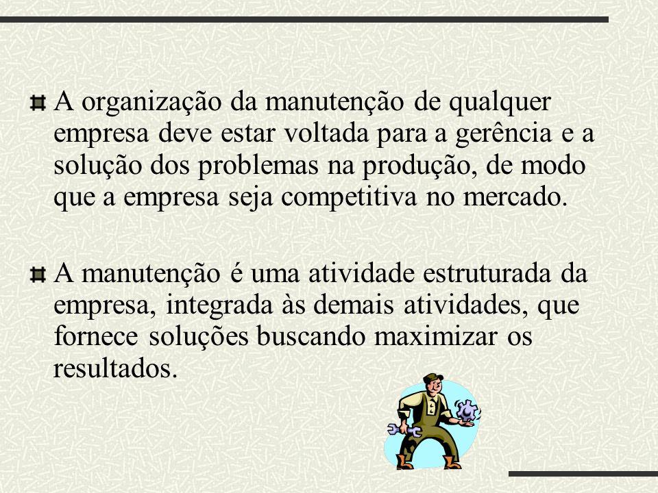 A organização da manutenção de qualquer empresa deve estar voltada para a gerência e a solução dos problemas na produção, de modo que a empresa seja competitiva no mercado.
