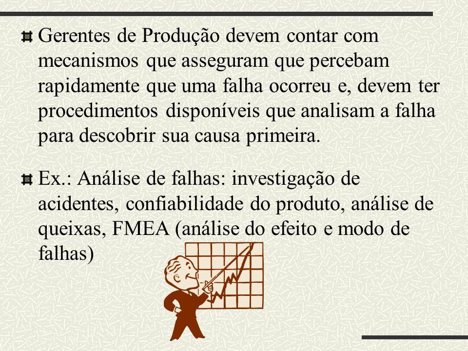 Gerentes de Produção devem contar com mecanismos que asseguram que percebam rapidamente que uma falha ocorreu e, devem ter procedimentos disponíveis que analisam a falha para descobrir sua causa primeira.