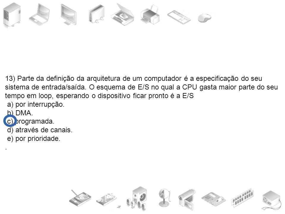 13) Parte da definição da arquitetura de um computador é a especificação do seu sistema de entrada/saída. O esquema de E/S no qual a CPU gasta maior parte do seu tempo em loop, esperando o dispositivo ficar pronto é a E/S
