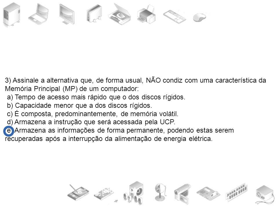3) Assinale a alternativa que, de forma usual, NÃO condiz com uma característica da Memória Principal (MP) de um computador: