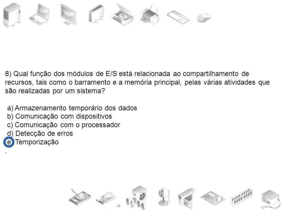 8) Qual função dos módulos de E/S está relacionada ao compartilhamento de recursos, tais como o barramento e a memória principal, pelas várias atividades que são realizadas por um sistema