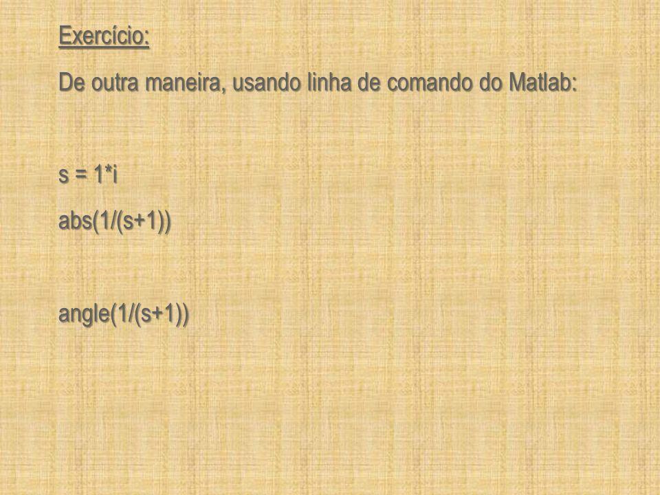 Exercício: De outra maneira, usando linha de comando do Matlab: s = 1*i abs(1/(s+1)) angle(1/(s+1))