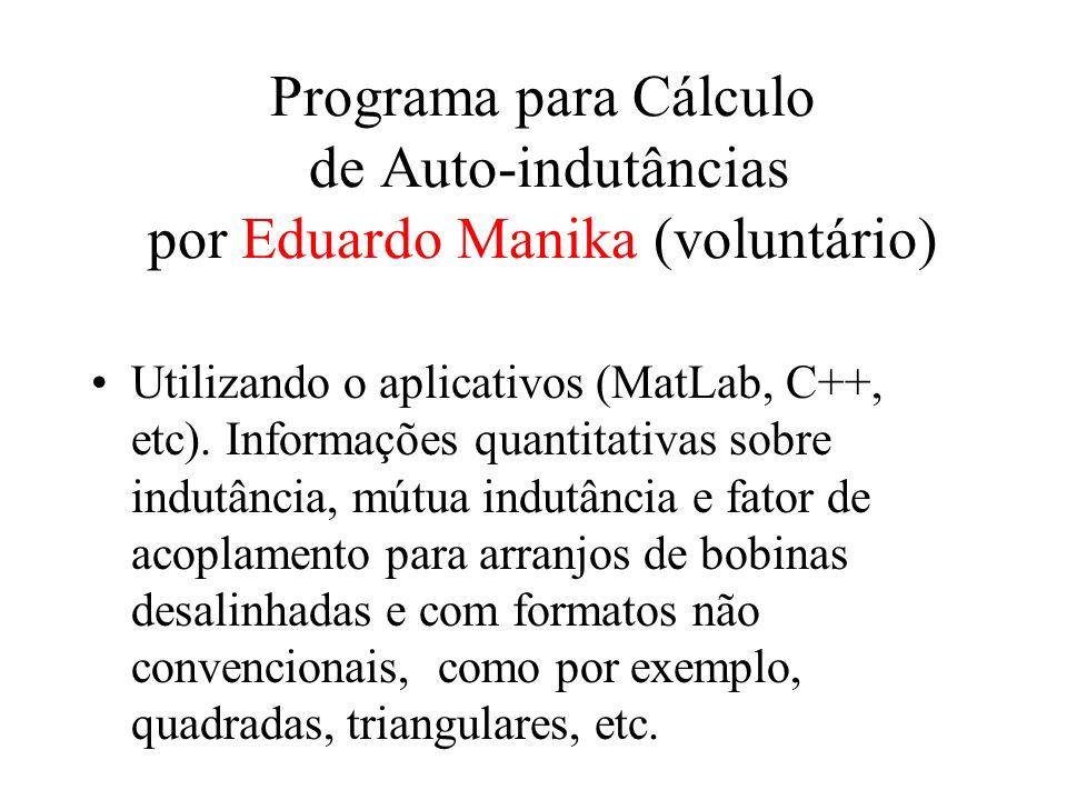 Programa para Cálculo de Auto-indutâncias por Eduardo Manika (voluntário)