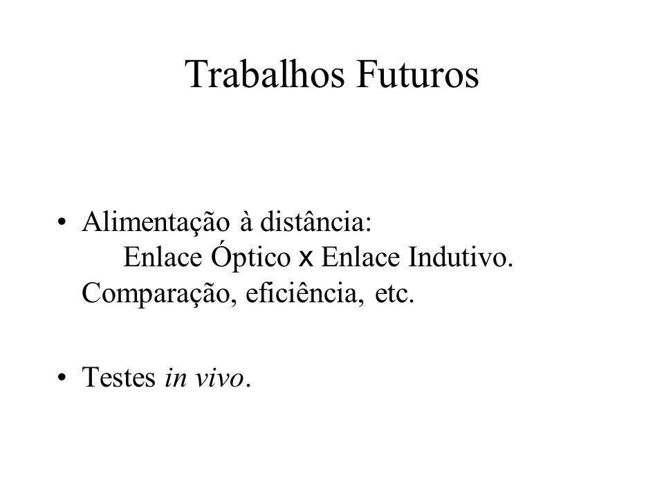 Trabalhos Futuros Alimentação à distância: Enlace Óptico x Enlace Indutivo. Comparação, eficiência, etc.