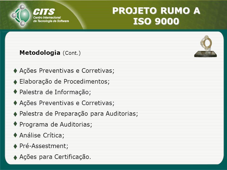 Metodologia (Cont.) Ações Preventivas e Corretivas; Elaboração de Procedimentos; Palestra de Informação;