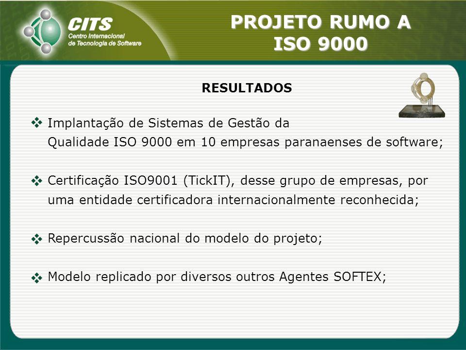 RESULTADOS Implantação de Sistemas de Gestão da. Qualidade ISO 9000 em 10 empresas paranaenses de software;