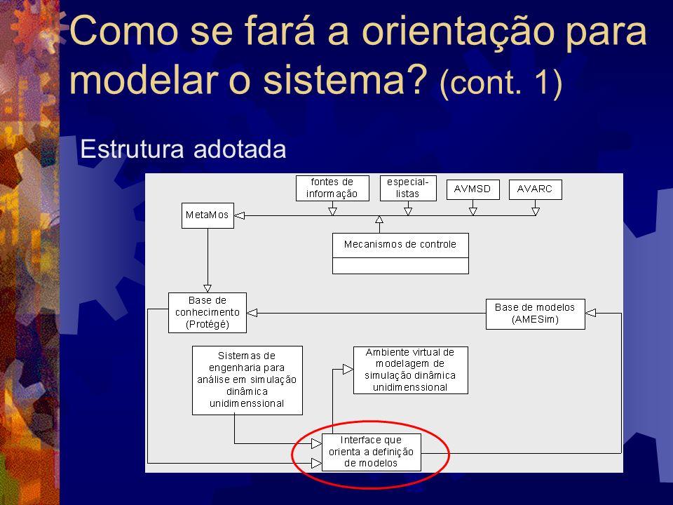 Como se fará a orientação para modelar o sistema (cont. 1)