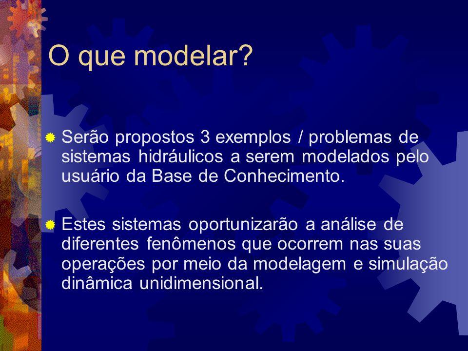O que modelar Serão propostos 3 exemplos / problemas de sistemas hidráulicos a serem modelados pelo usuário da Base de Conhecimento.