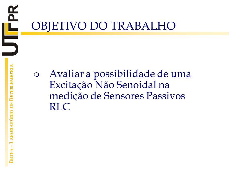 OBJETIVO DO TRABALHO Avaliar a possibilidade de uma Excitação Não Senoidal na medição de Sensores Passivos RLC.