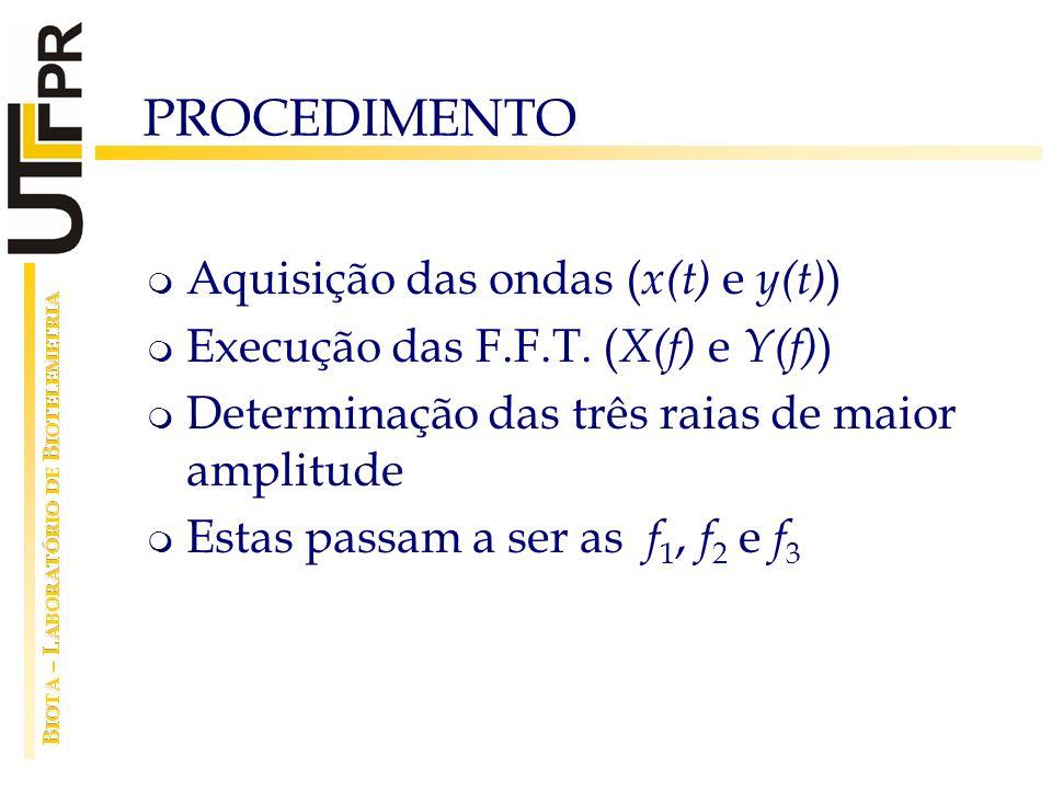 PROCEDIMENTO Aquisição das ondas (x(t) e y(t))