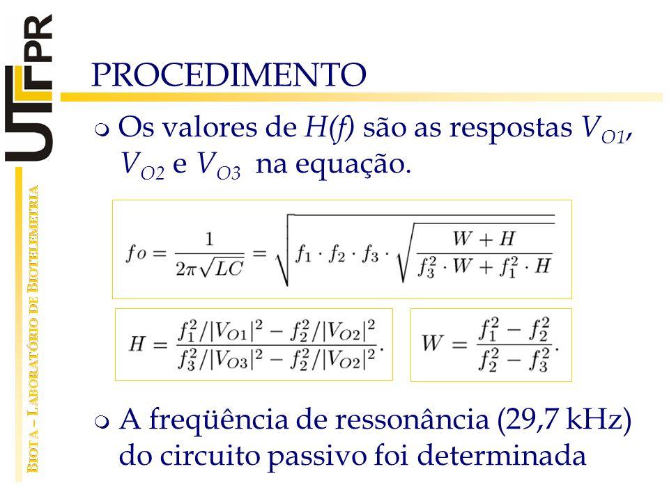 PROCEDIMENTO Os valores de H(f) são as respostas VO1, VO2 e VO3 na equação.