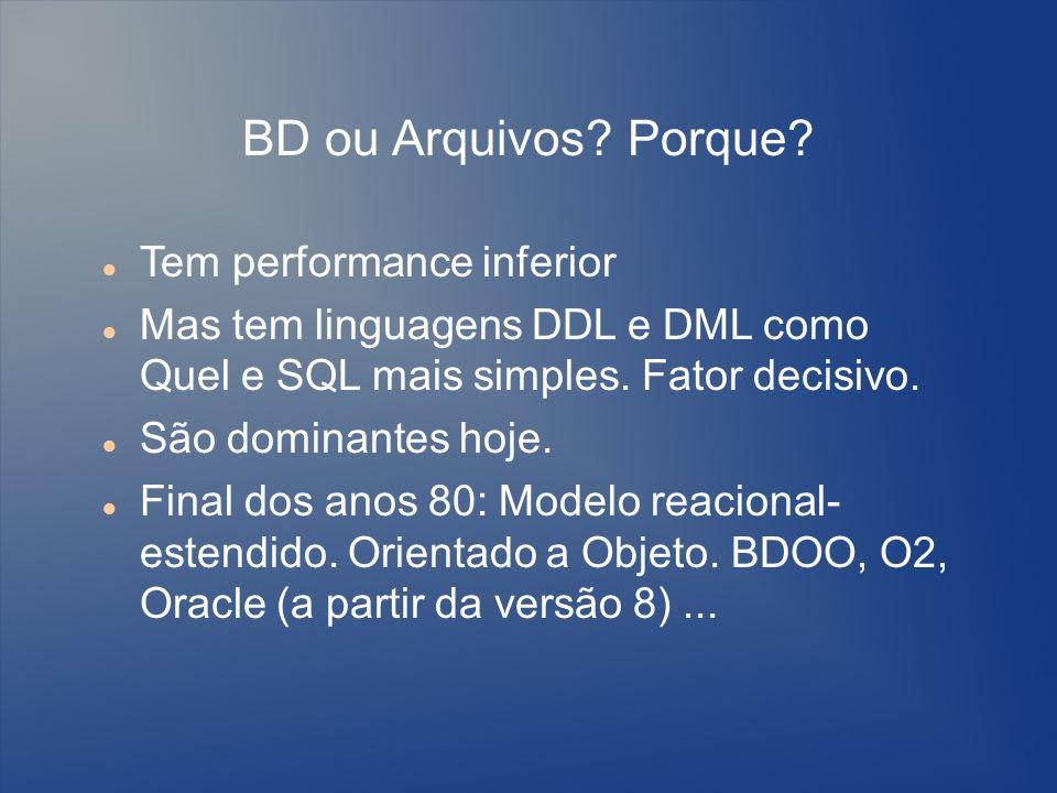 BD ou Arquivos Porque Tem performance inferior