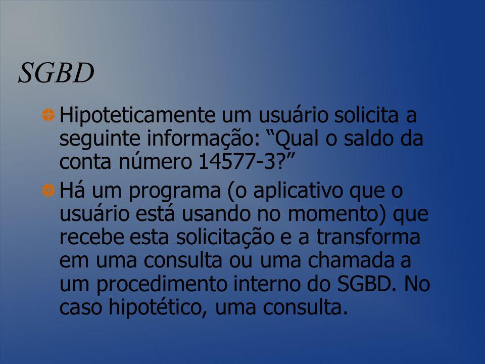 SGBD Hipoteticamente um usuário solicita a seguinte informação: Qual o saldo da conta número 14577-3
