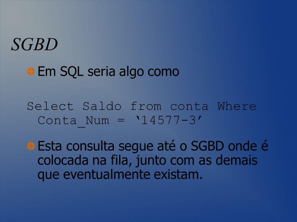 SGBD Em SQL seria algo como