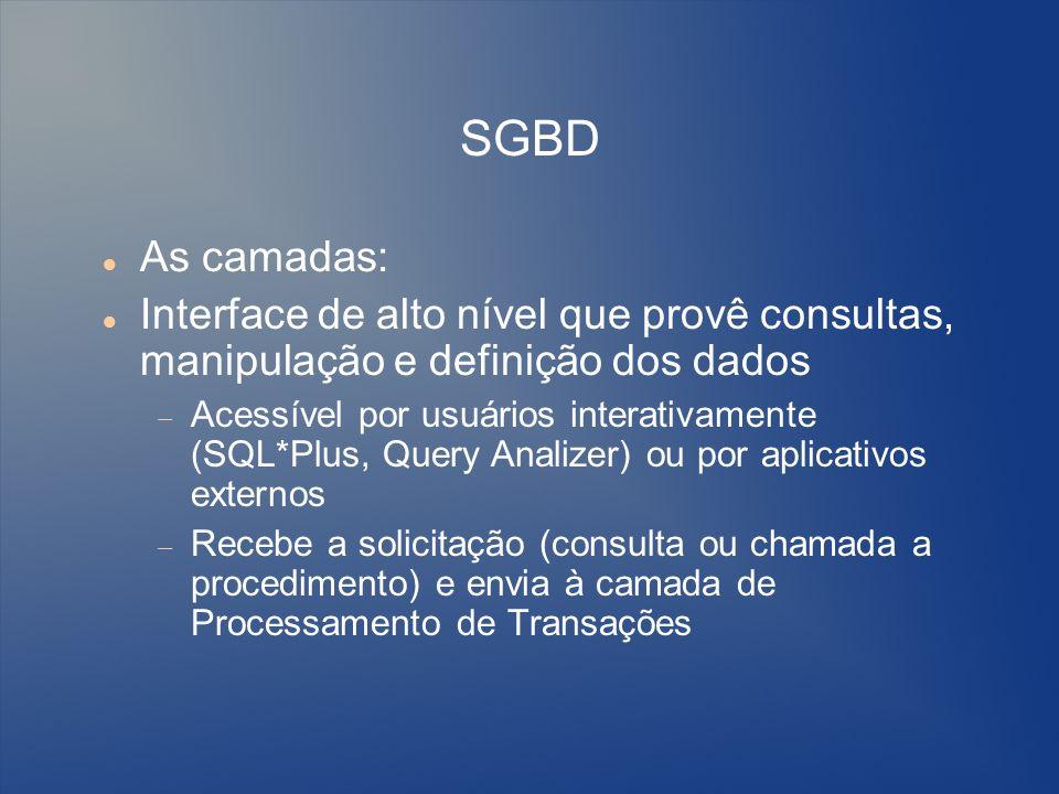 SGBDAs camadas: Interface de alto nível que provê consultas, manipulação e definição dos dados.