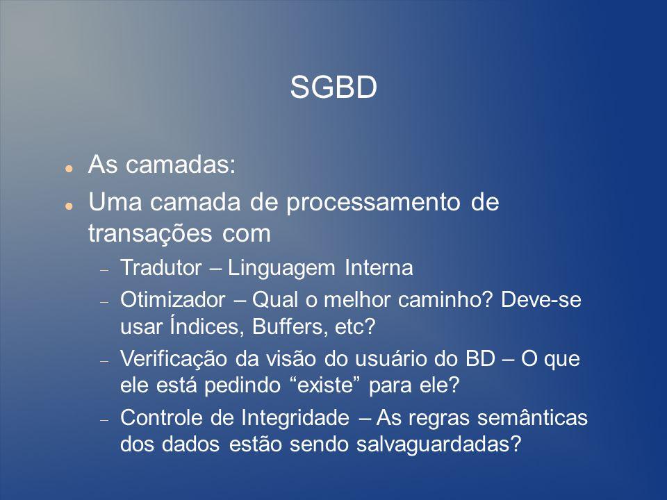 SGBD As camadas: Uma camada de processamento de transações com