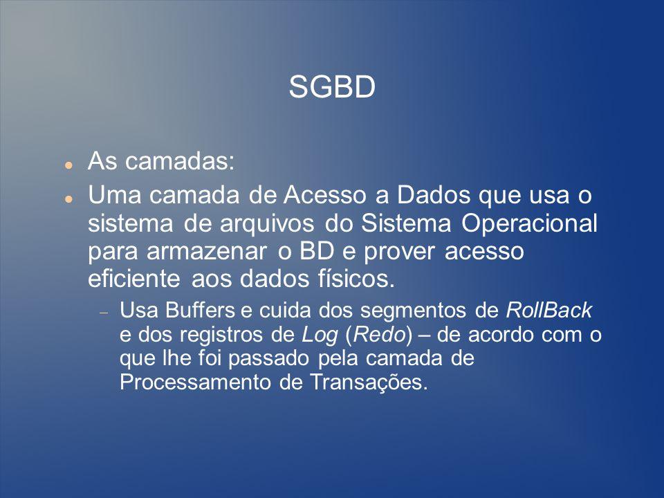 SGBD As camadas: