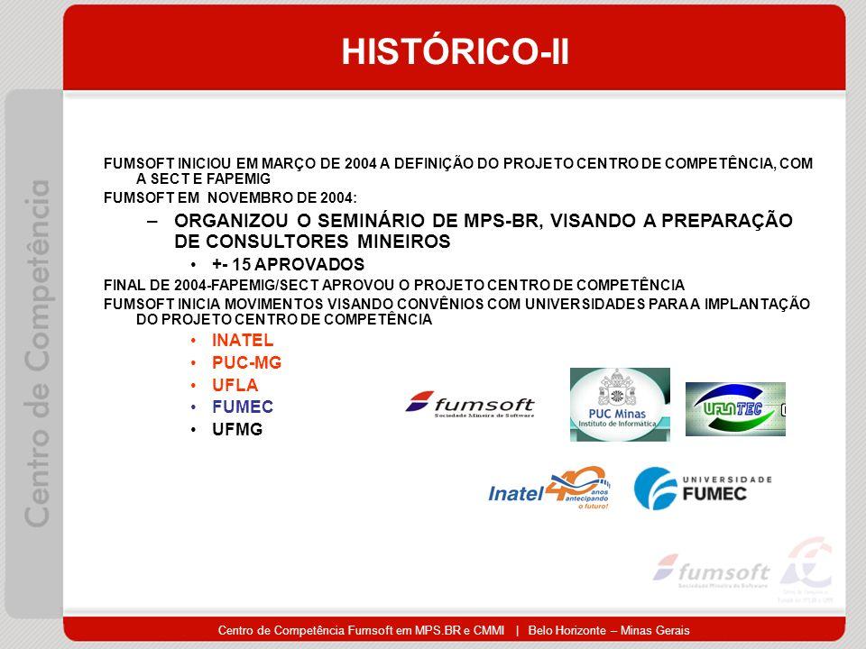 HISTÓRICO-II FUMSOFT INICIOU EM MARÇO DE 2004 A DEFINIÇÃO DO PROJETO CENTRO DE COMPETÊNCIA, COM A SECT E FAPEMIG.