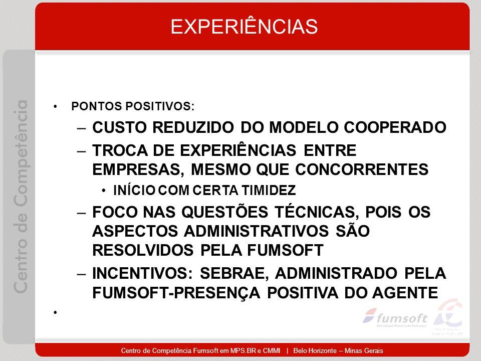 EXPERIÊNCIAS CUSTO REDUZIDO DO MODELO COOPERADO