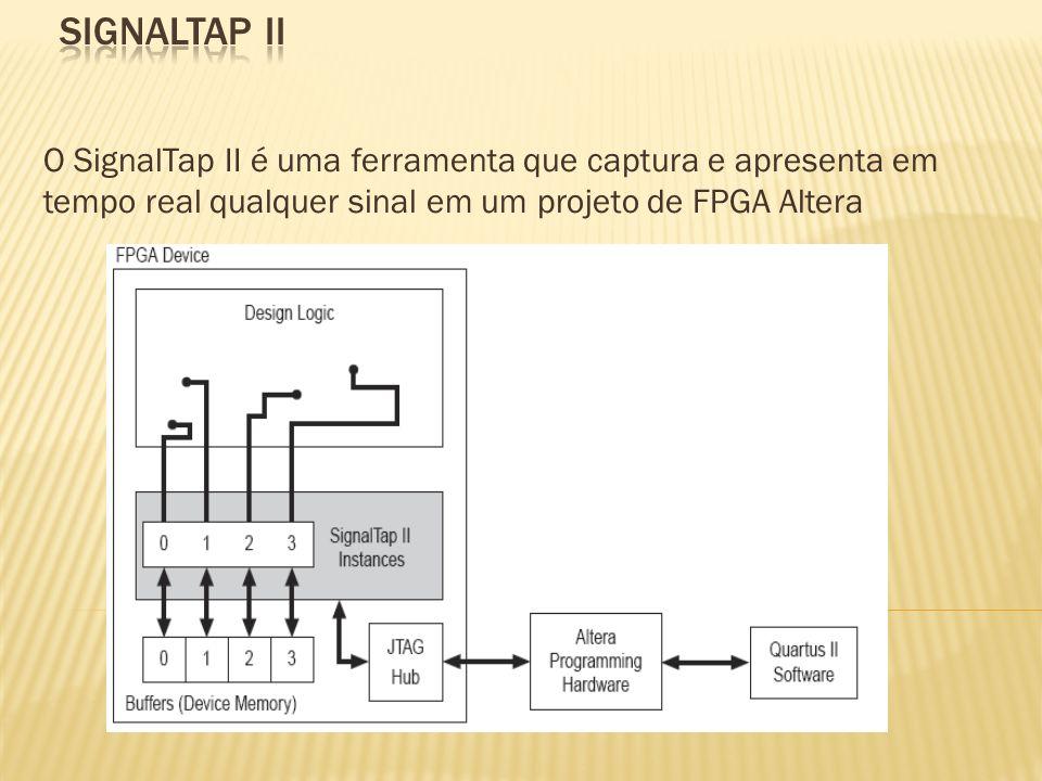 SIGNALTAP IIO SignalTap II é uma ferramenta que captura e apresenta em tempo real qualquer sinal em um projeto de FPGA Altera.