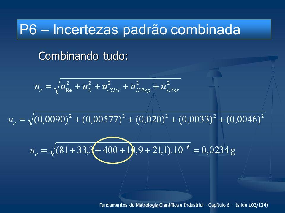 P6 – Incertezas padrão combinada