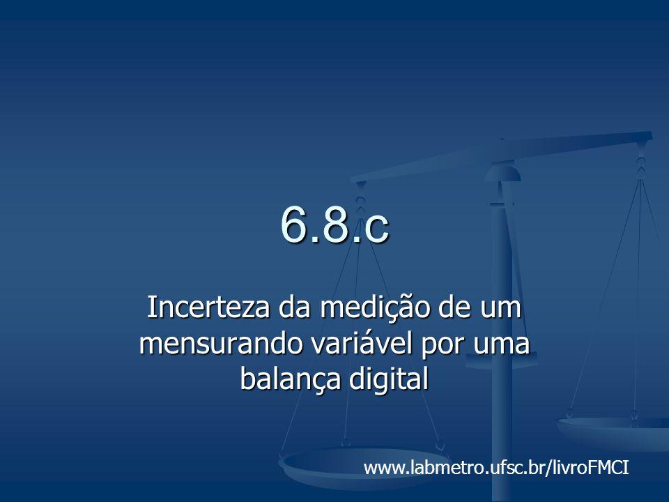 Incerteza da medição de um mensurando variável por uma balança digital