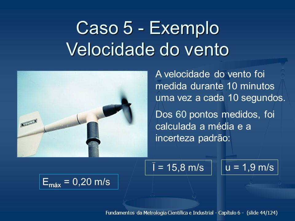 Caso 5 - Exemplo Velocidade do vento