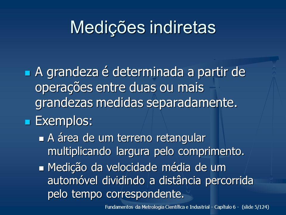 Medições indiretas A grandeza é determinada a partir de operações entre duas ou mais grandezas medidas separadamente.