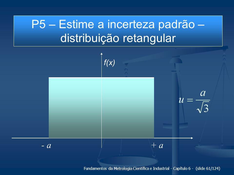 P5 – Estime a incerteza padrão – distribuição retangular