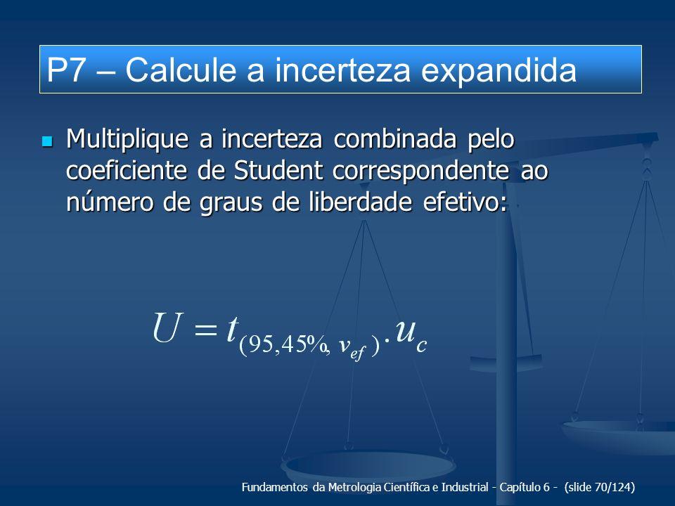 P7 – Calcule a incerteza expandida