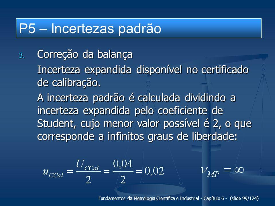 P5 – Incertezas padrão Correção da balança