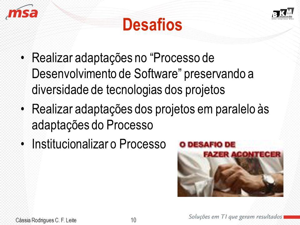 Desafios Realizar adaptações no Processo de Desenvolvimento de Software preservando a diversidade de tecnologias dos projetos.