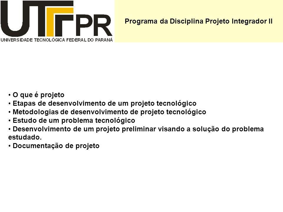 Programa da Disciplina Projeto Integrador II