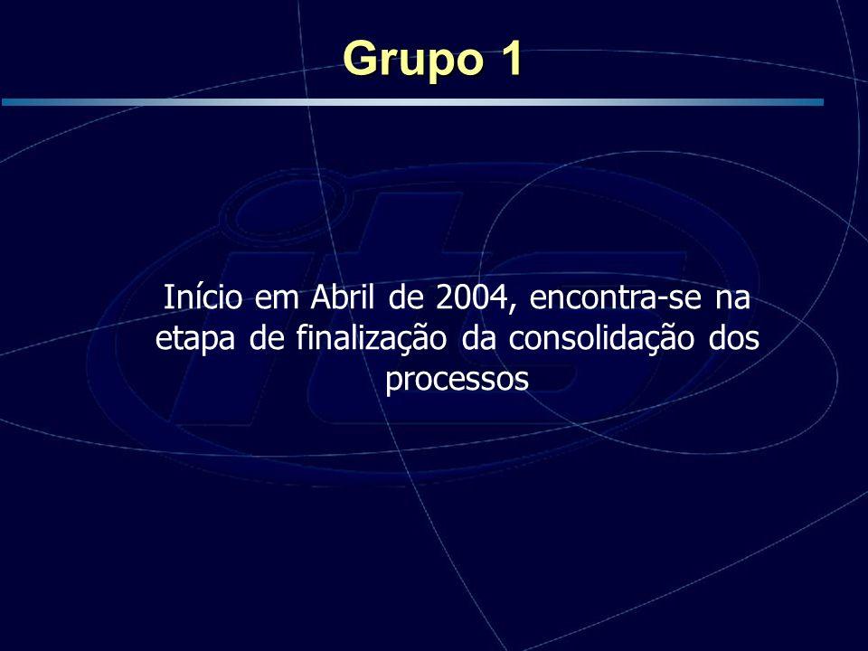 Grupo 1 Início em Abril de 2004, encontra-se na etapa de finalização da consolidação dos processos