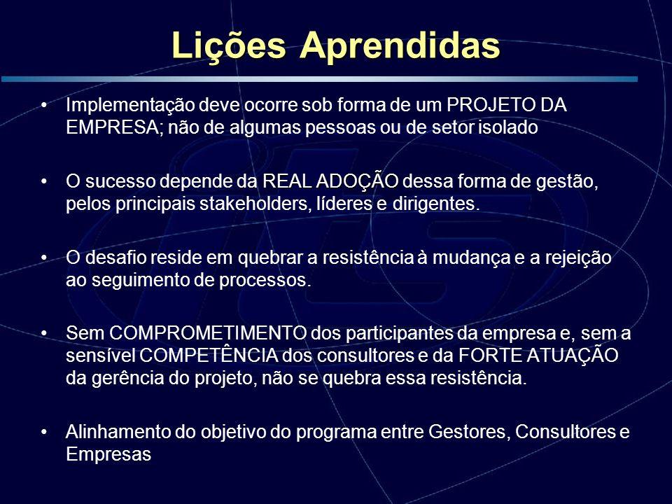 Lições Aprendidas Implementação deve ocorre sob forma de um PROJETO DA EMPRESA; não de algumas pessoas ou de setor isolado.