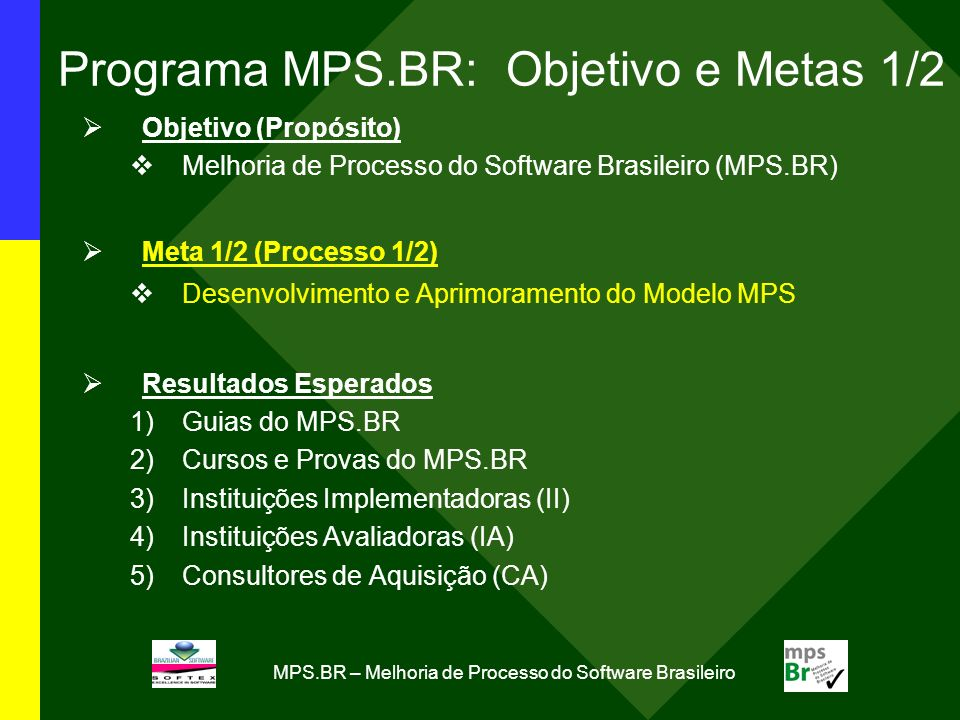 Programa MPS.BR: Objetivo e Metas 1/2