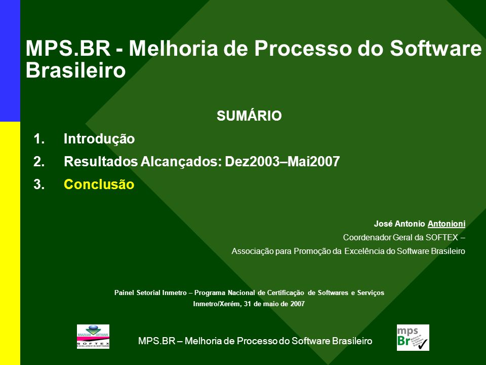 MPS.BR - Melhoria de Processo do Software Brasileiro