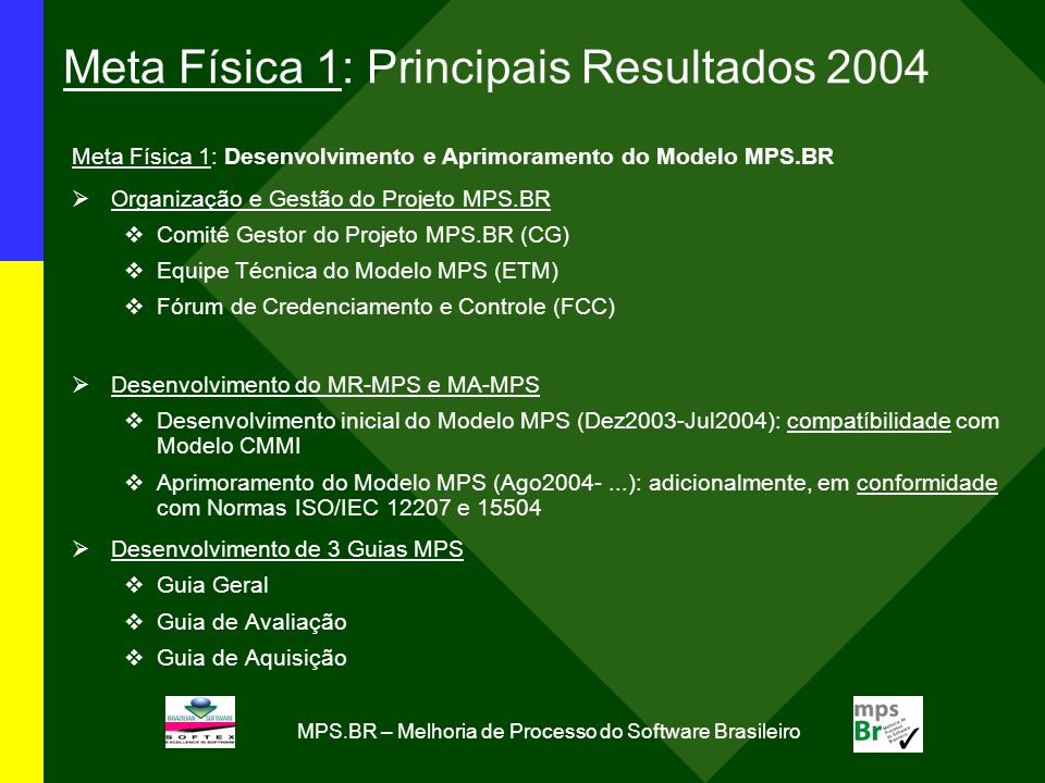 Meta Física 1: Principais Resultados 2004