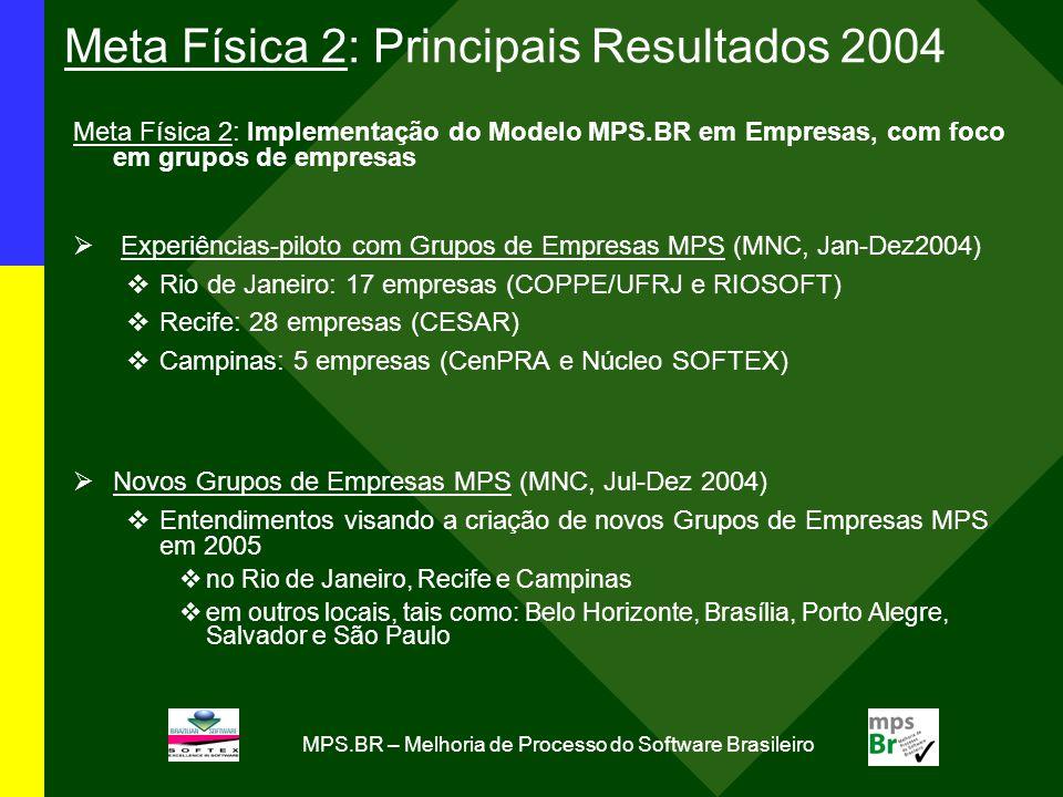 Meta Física 2: Principais Resultados 2004
