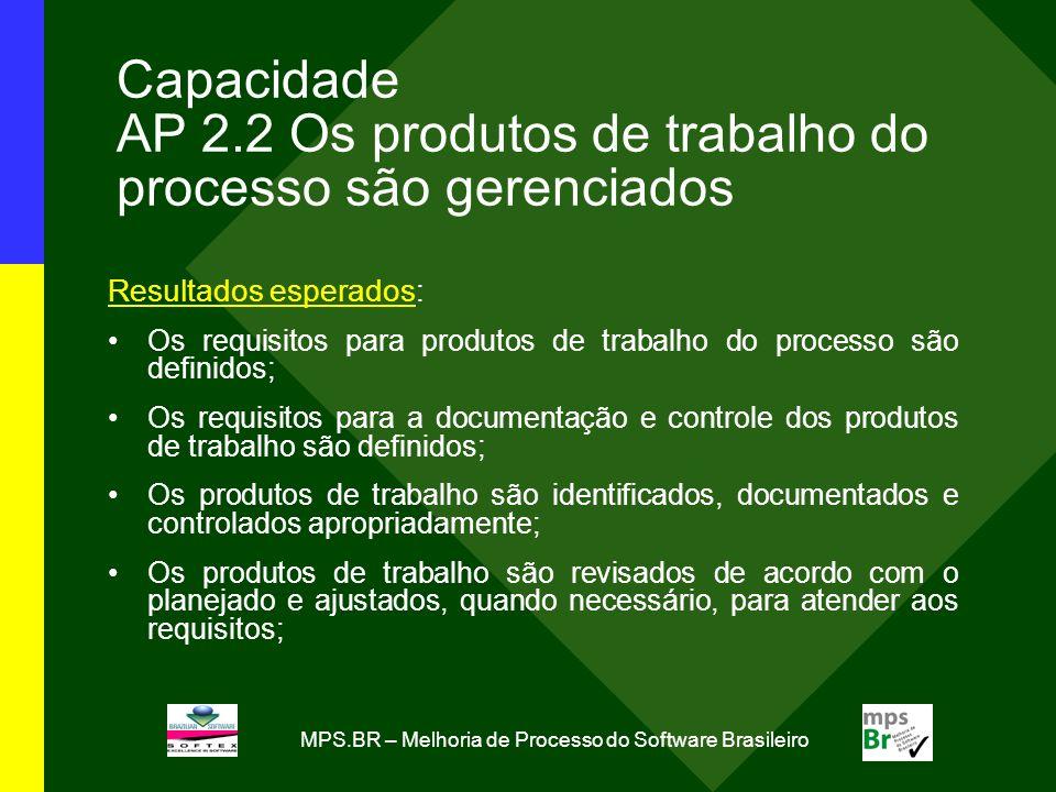 Capacidade AP 2.2 Os produtos de trabalho do processo são gerenciados
